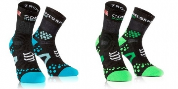 Compressport Socks V2 Run Hi ( Black / Blue, Black / Green, Black / Orange)